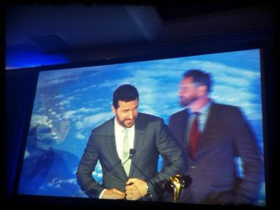 RA accepting saturn award