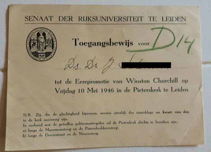 Churchill invite Leiden 1946