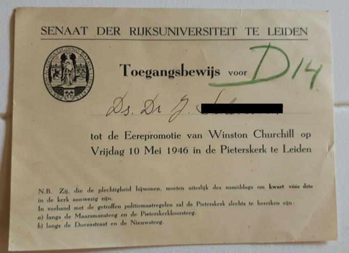 Churchill invite Leiden 1946