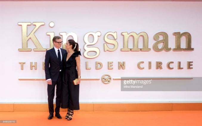 LONDON, ENGLAND - SEPTEMBER 18:Colin Firth and Livia Firth attend the 'Kingsman: The Golden Circle' World Premiere held at Odeon Leicester Square on September 18, 2017 in London, England. (Photo by Mike Marsland/WireImage)