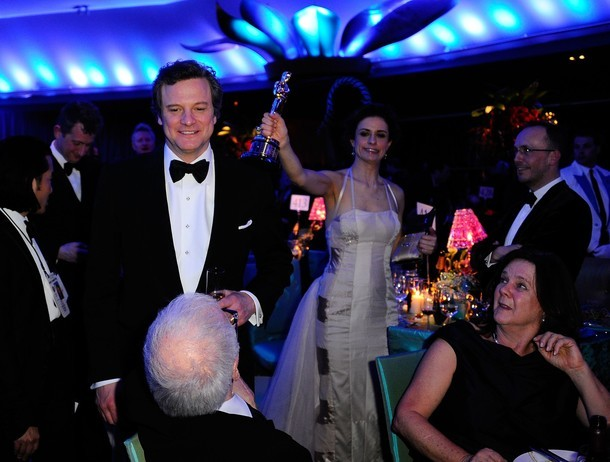 HOLLYWOOD, CA - FEBRUARY 27: Actor Colin Firth (L), winner of the award for Best Actgor in a Leading Role for 'The King's Speech', and wife Livia Giuggioli attend the Governors Ball on February 27, 2011 in Hollywood, California. (Photo by Kevork Djansezian/Getty Images)