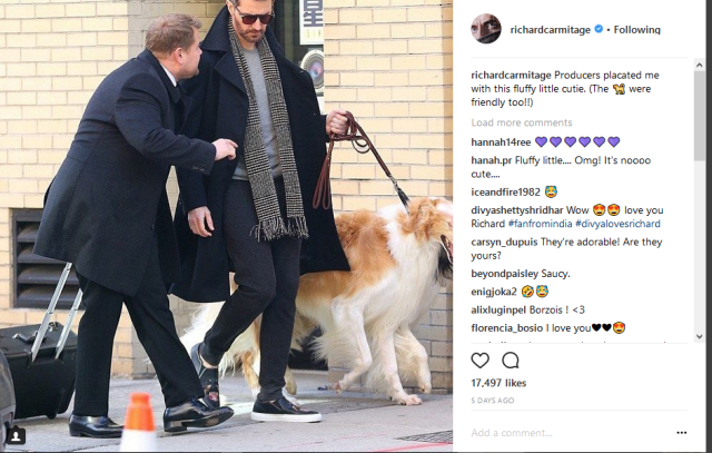 RA insta w JC and dogs 4-6-2018