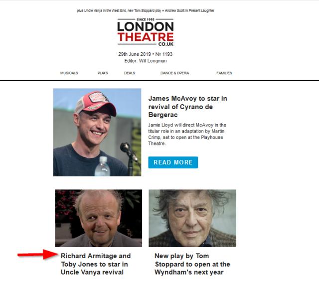 London Theatre e-mail