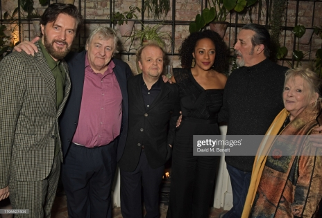 "LONDON, ENGLAND - JANUARY 23: (L to R) Richard Armitage, Peter Wight, Toby Jones, Rosalind Eleazar, Ciaran Hinds and Anna Calder-Marshall attend the press night after party for ""Uncle Vanya"" at Sophie's on January 23, 2020 in London, England. (Photo by David M. Benett/Dave Benett/Getty Images)"