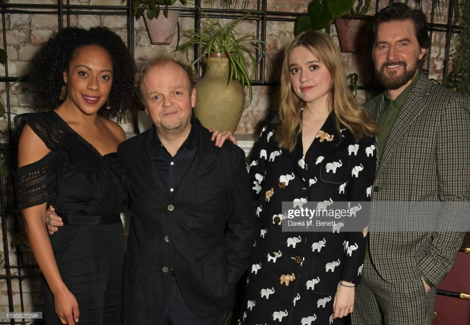 "LONDON, ENGLAND - JANUARY 23: (L to R) Rosalind Eleazar, Toby Jones, Aimee Lou Wood and Richard Armitage attend the press night after party for ""Uncle Vanya"" at Sophie's on January 23, 2020 in London, England. (Photo by David M. Benett/Dave Benett/Getty Images)"