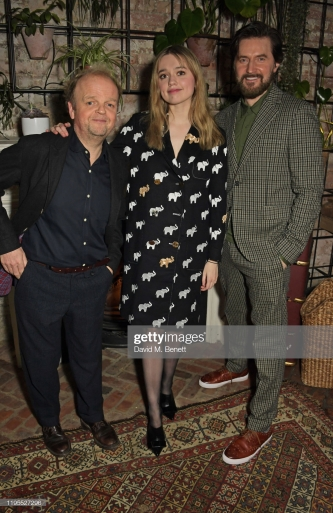 "LONDON, ENGLAND - JANUARY 23: (L to R) Toby Jones, Aimee Lou Wood and Richard Armitage attend the press night after party for ""Uncle Vanya"" at Sophie's on January 23, 2020 in London, England. (Photo by David M. Benett/Dave Benett/Getty Images)"