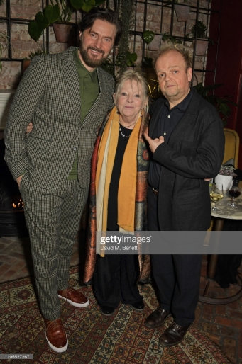 "LONDON, ENGLAND - JANUARY 23: (L to R) Richard Armitage, Anna Calder-Marshall and Toby Jones attend the press night after party for ""Uncle Vanya"" at Sophie's on January 23, 2020 in London, England. (Photo by David M. Benett/Dave Benett/Getty Images)"