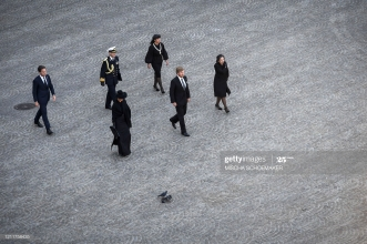 Netherlands' Queen Maxima (front L) and King Willem-Alexander (front C) arrive for a wreath-laying ceremony on May 4, 2020 in Amsterdam on Dam Square to attend the National Remembrance Day commemoration, which will take place without audience nor invitees because of the spread of the COVID-19 disease caused by the novel coronavirus. (Photo by Mischa Schoemaker / various sources / AFP) / Netherlands OUT (Photo by MISCHA SCHOEMAKER/POOL/AFP via Getty Images)