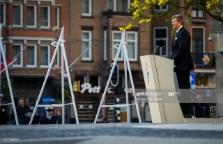 King Willem-Alexander of the Netherlands gives a speech during National Remembrance Day commemorations on Dam Square following a wreath-laying ceremony on May 4, 2020 in Amsterdam. (Photo by Remko DE WAAL / various sources / AFP) / Netherlands OUT (Photo by REMKO DE WAAL/ANP/AFP via Getty Images)